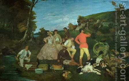 The Huntsman's Picnic by Gustave Courbet - Reproduction Oil Painting