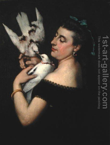 Woman with Pigeons by Gustave Courbet - Reproduction Oil Painting
