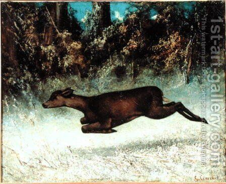 Leaping Doe by Gustave Courbet - Reproduction Oil Painting