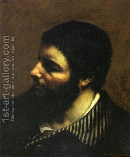 Self Portrait with Striped Collar by Gustave Courbet - Reproduction Oil Painting