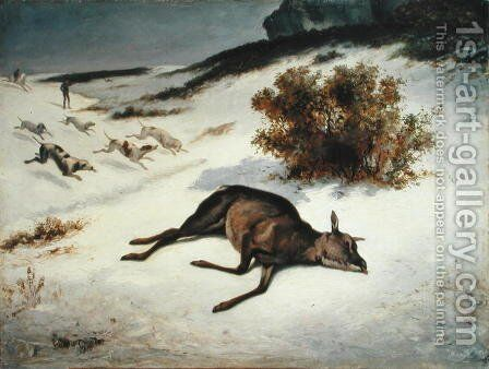 Hind Forced Down in the Snow, 1866 by Gustave Courbet - Reproduction Oil Painting