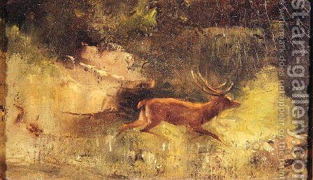 Stag Running through a Wood, c.1865 by Gustave Courbet - Reproduction Oil Painting