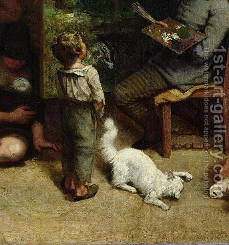 The Studio of the Painter, a Real Allegory, 1855 (detail) by Gustave Courbet - Reproduction Oil Painting