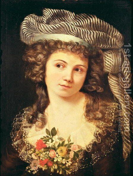 Portrait of a young woman in the style of Labille-Guiard by Gustave Courbet - Reproduction Oil Painting
