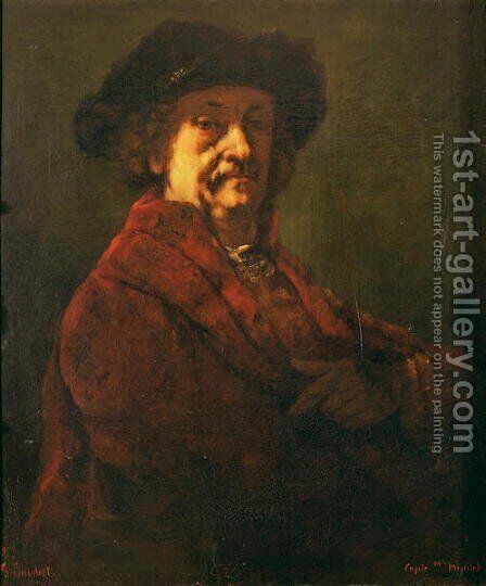 Copy of a Rembrandt Self Portrait, 1869 by Gustave Courbet - Reproduction Oil Painting