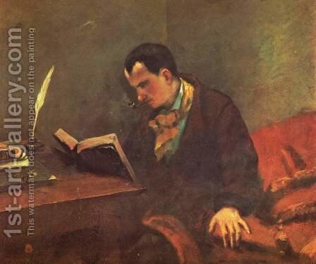 Portrait of Charles Baudelaire (1821-67) 1847 by Gustave Courbet - Reproduction Oil Painting