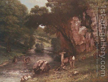 Deer by a River (Chevreuils a la Riviere) by Gustave Courbet - Reproduction Oil Painting
