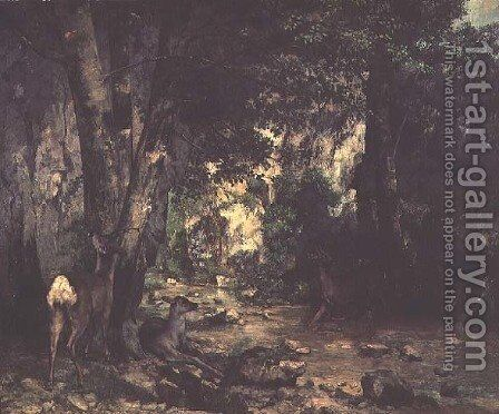 The Return of the Deer to the Stream at Plaisir-Fontaine, 1866 by Gustave Courbet - Reproduction Oil Painting
