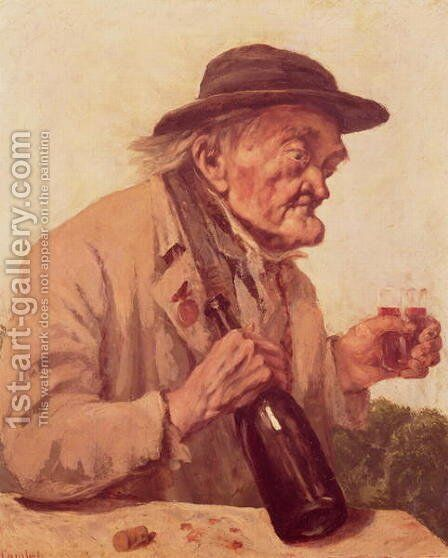 Old Man with a glass of wine by Gustave Courbet - Reproduction Oil Painting