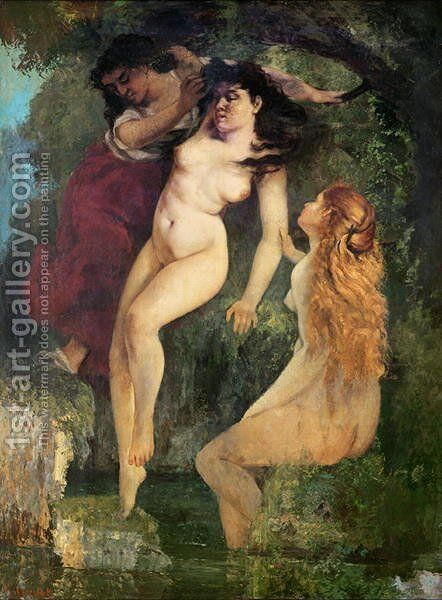 Three Bathers by Gustave Courbet - Reproduction Oil Painting