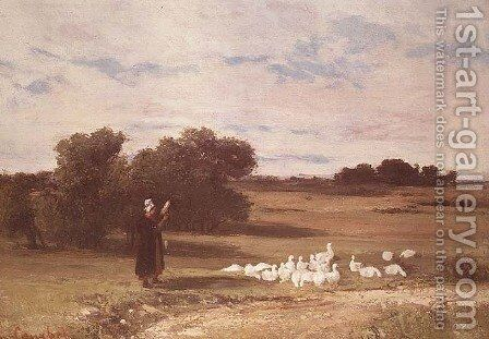 Girl with Geese by Gustave Courbet - Reproduction Oil Painting