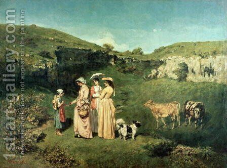 Young Women of the Village Giving Alms to a cowherd, 1852 by Gustave Courbet - Reproduction Oil Painting