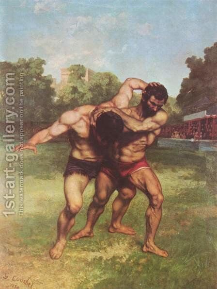 The Wrestlers, 1853 by Gustave Courbet - Reproduction Oil Painting