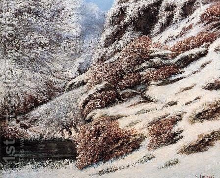 Deer in a Snowy Landscape, 1867 by Gustave Courbet - Reproduction Oil Painting