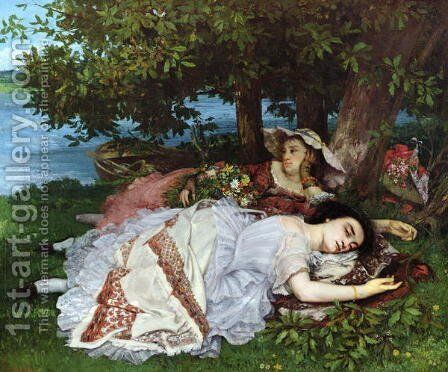 Girls on the Banks of the Seine, 1856-57 by Gustave Courbet - Reproduction Oil Painting