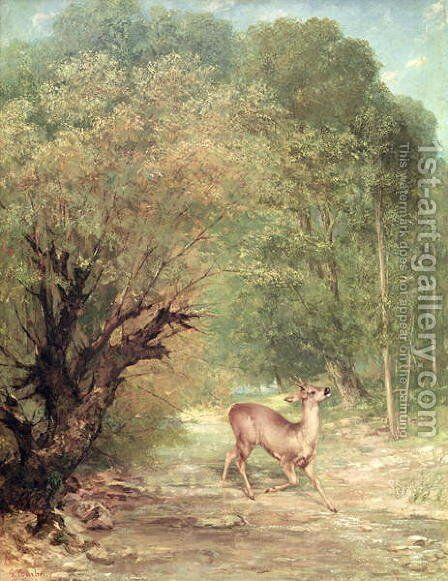 The Hunted Roe-Deer on the alert, Spring, 1867 by Gustave Courbet - Reproduction Oil Painting