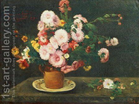 Still life with asters by Gustave Courbet - Reproduction Oil Painting