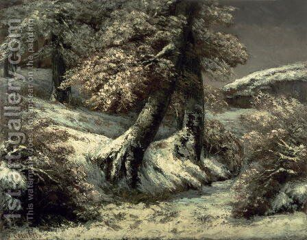 Trees in the Snow, c.1865 by Gustave Courbet - Reproduction Oil Painting