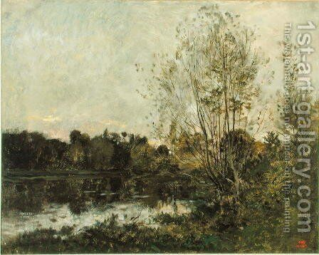 A Lake in the Woods at Dusk, c.1865 by Charles-Francois Daubigny - Reproduction Oil Painting