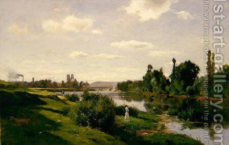 The River Seine at Mantes, c.1856 by Charles-Francois Daubigny - Reproduction Oil Painting