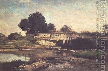 The Lock at Optevoz, 1859 by Charles-Francois Daubigny - Reproduction Oil Painting
