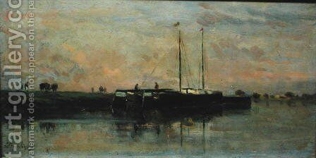 Barges at Bezons by Charles-Francois Daubigny - Reproduction Oil Painting