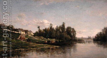 River Scene, 1859 by Charles-Francois Daubigny - Reproduction Oil Painting