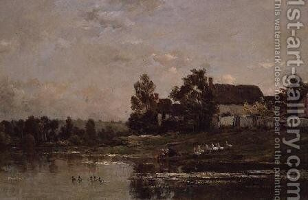 The Banks of the Seine at Portejoie, 1871 by Charles-Francois Daubigny - Reproduction Oil Painting