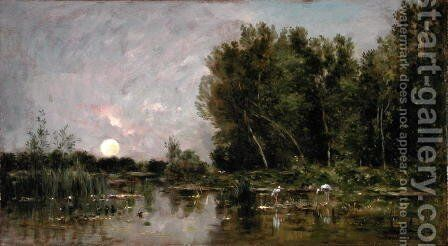 Moonrise, 1877 by Charles-Francois Daubigny - Reproduction Oil Painting