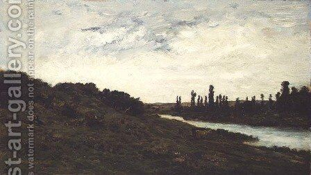 Herdsmen and Cattle in a wooded river landscape by Charles-Francois Daubigny - Reproduction Oil Painting