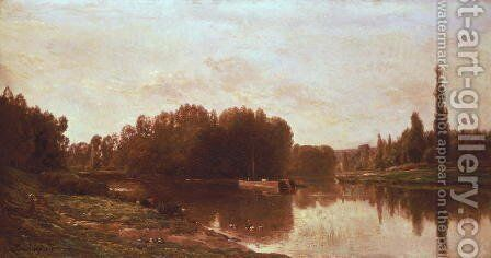 The Confluence of the River Seine and the River Oise by Charles-Francois Daubigny - Reproduction Oil Painting