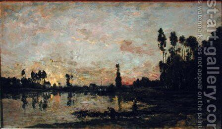 Sunset on the Oise, 1865 by Charles-Francois Daubigny - Reproduction Oil Painting