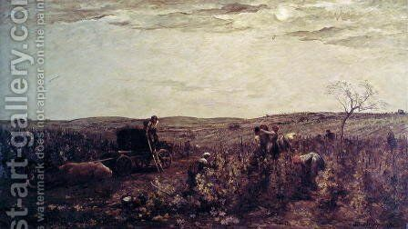 The Wine Harvest in Burgundy, 1863 by Charles-Francois Daubigny - Reproduction Oil Painting