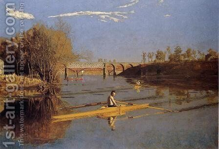 Max Schmitt in a Single Scull, 1871 by Thomas Cowperthwait Eakins - Reproduction Oil Painting