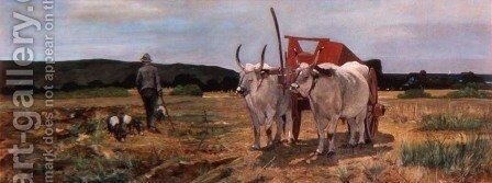 Ox-cart in the Tuscan Maremma by Giovanni Fattori - Reproduction Oil Painting