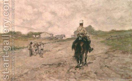 The Light Cavalryman by Giovanni Fattori - Reproduction Oil Painting