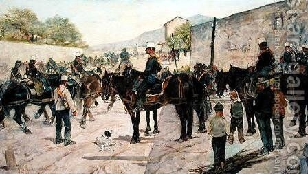 Military Exercises, 1890 by Giovanni Fattori - Reproduction Oil Painting