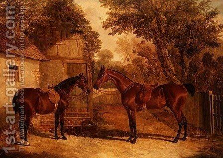 Bay Hunters outside a Farmhouse by John Frederick Herring Snr - Reproduction Oil Painting