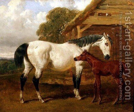 A Mare and Foal before a Barn, 1854 by John Frederick Herring Snr - Reproduction Oil Painting
