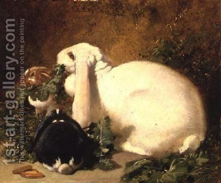 A Doe Rabbit and her two young, 1852 by John Frederick Herring Snr - Reproduction Oil Painting