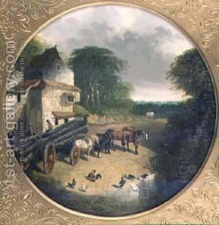 The Timber Wagon, 1852 by John Frederick Herring Snr - Reproduction Oil Painting