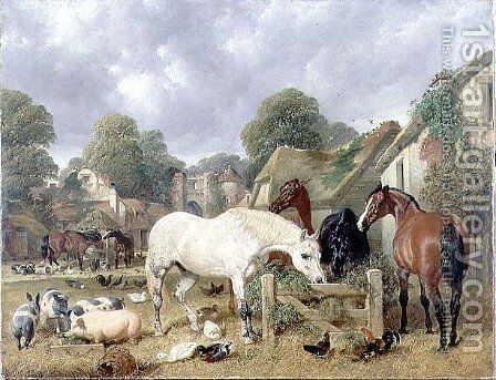 Horses in a Paddock, 1852 by John Frederick Herring Snr - Reproduction Oil Painting
