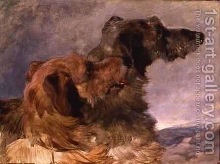 Two Deerhounds, 1851 by John Frederick Herring Snr - Reproduction Oil Painting