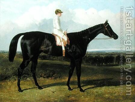 'Jonathan Wild', a Dark Bay Race Horse, at Goodwood, T. Ryder up, 1846 by John Frederick Herring Snr - Reproduction Oil Painting
