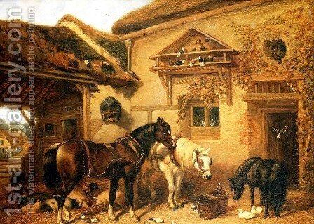 Cottage Door and Farmstead, 1843 by John Frederick Herring Snr - Reproduction Oil Painting