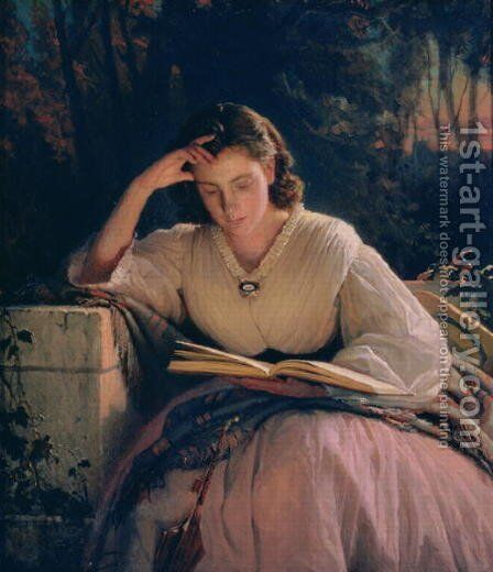 Reading (portrait of the artist's wife), 1863 by Ivan Nikolaevich Kramskoy - Reproduction Oil Painting