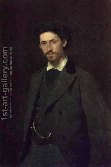 Portrait of Ilya Efimovich Repin, 1876 by Ivan Nikolaevich Kramskoy - Reproduction Oil Painting