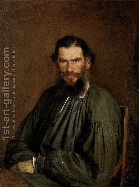 Portrait of Count Lev Nikolaevich Tolstoy (1828-1910) 1873 by Ivan Nikolaevich Kramskoy - Reproduction Oil Painting