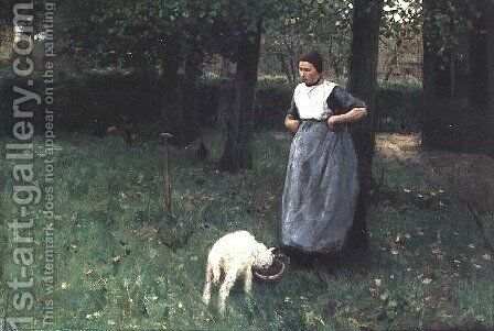 Larener Woman with a Goat, c.1885 by Anton Mauve - Reproduction Oil Painting
