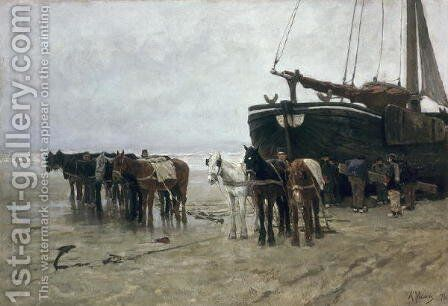 Boat on the Beach at Scheveningen, 1876 by Anton Mauve - Reproduction Oil Painting